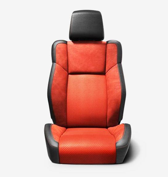 dodge challenger interior seating nappa alcantara leather black red