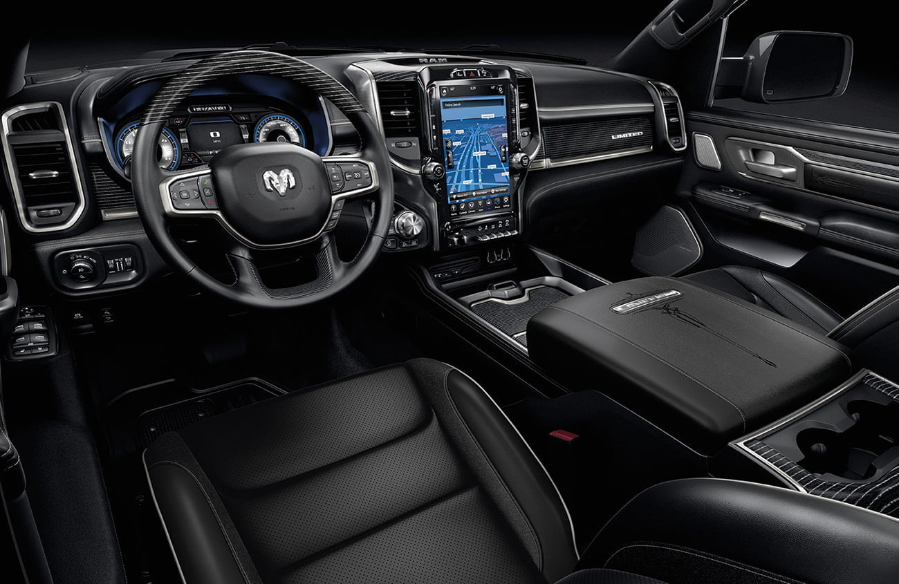 Premium interiors of Ram Limited 1500 black leather