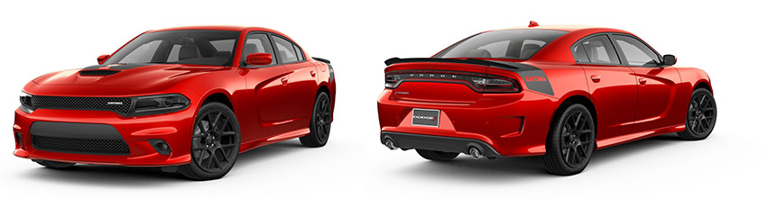 Red Dodge Charger side and rear view
