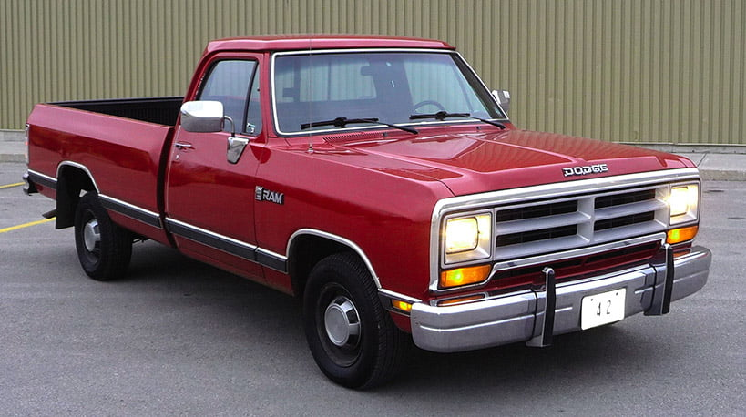 red vintage dodge ram pickup