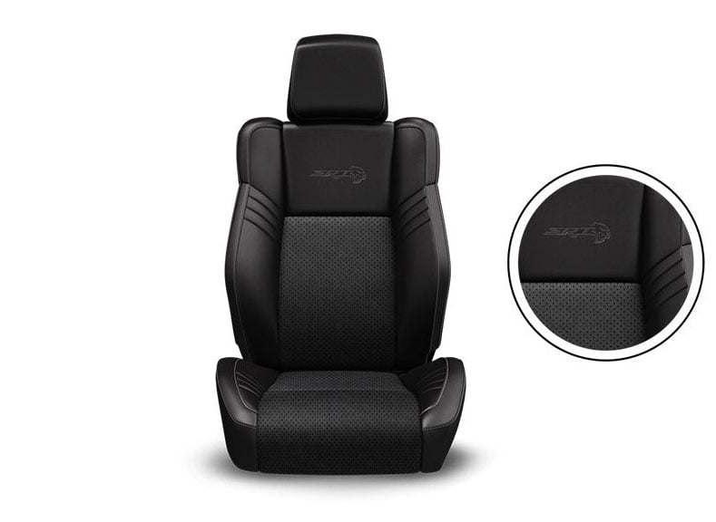Black SRT® Laguna Leather Trim with Laguna Leather Perforated Inserts, Silver Accent Stitching and Embroidered SRT Logo