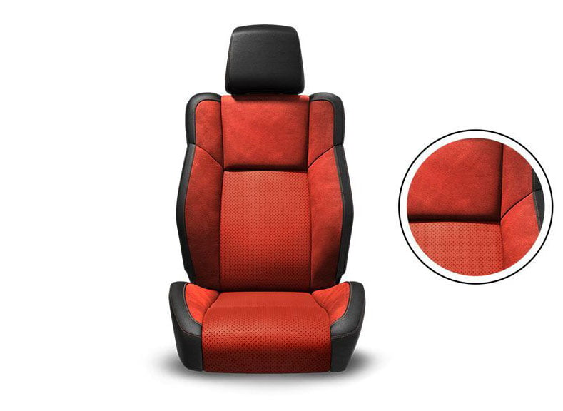 Black Nappa Leather Trim with Alcantara® Suede Bolsters, Ruby Red Alcantara Perforated Suede Inserts and Ruby Red Accent Stitching