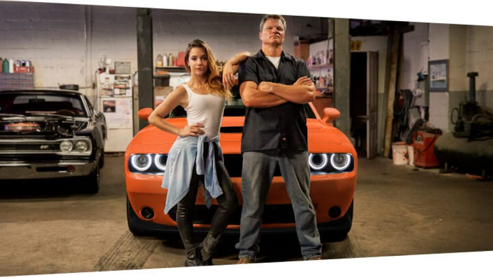 dodge challenger garage sexy girl and mechanic