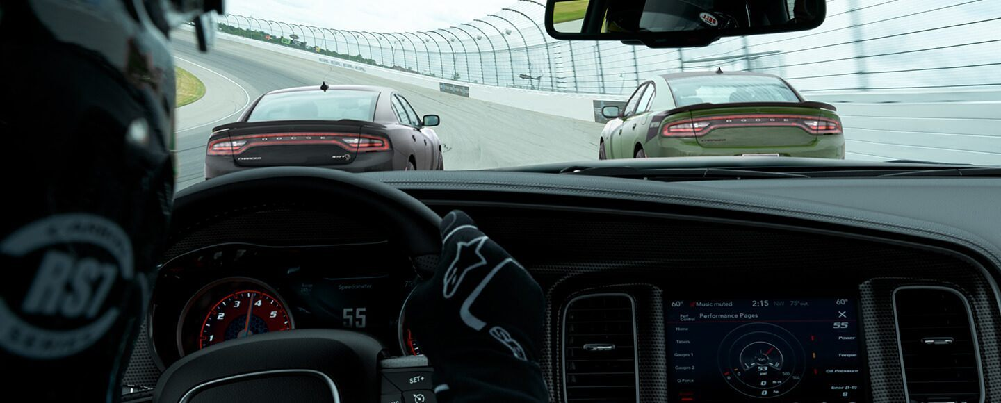 Dodge Charger running on the track