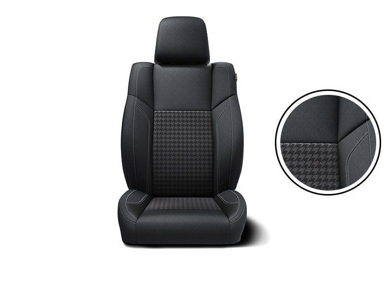 Black sedoso and houndstooth premium torque sport cloth with Tungsten accent stitching.