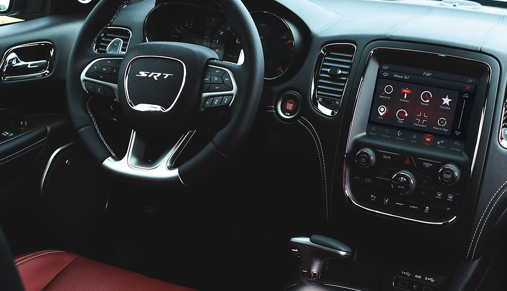Black and red leather Dodge Durango SRT interior