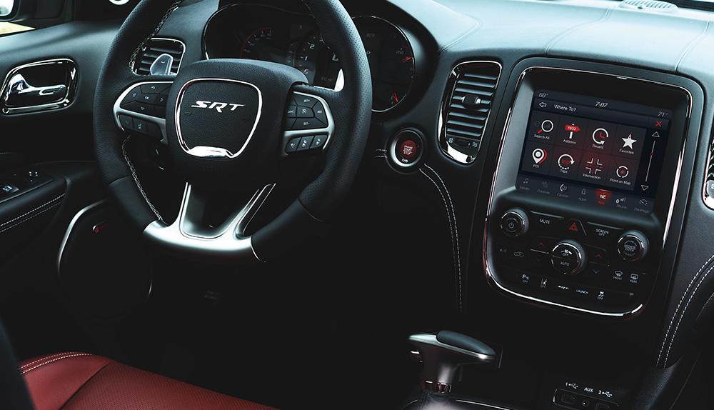 Black and red leather Dodge Durango SRT interior
