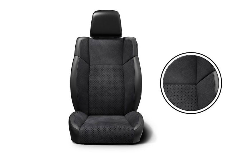 Black Nappa leather trim with Alcantara® Suede Bolsters and Tungsten accent stitching.