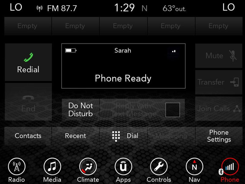 dodge Charger and Challenger phone ready screen. uconnect