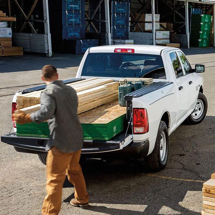 ram pickup truck being loaded cargo